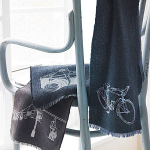 Printed Lambswool Hobbies Scarf - gifts for him
