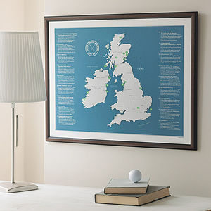 UK And Ireland Golf Map - pictures, prints & paintings