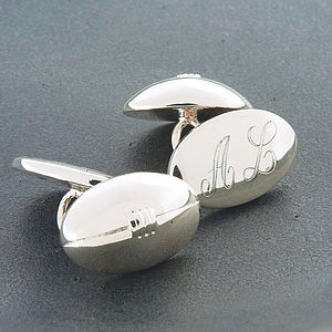 Rugby Ball Cufflinks - men's jewellery