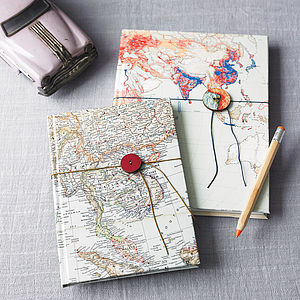 Vintage Map Notebook Or Sketchbook - frequent traveller