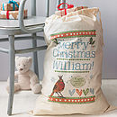 Personalised Christmas Gift Sack - Merry Christmas robin design