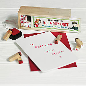 Set Of Rubber Alphabet Stamps With Ink - card crafting