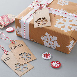 Recycled Christmas Snowflake Gift Wrap - ribbon & wrap