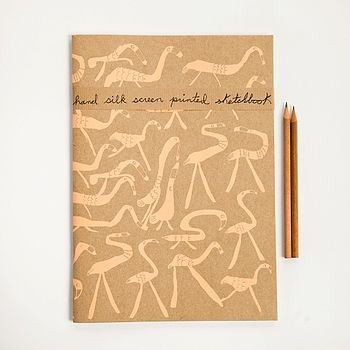 A4 Flamingos Handprinted Sketchbook
