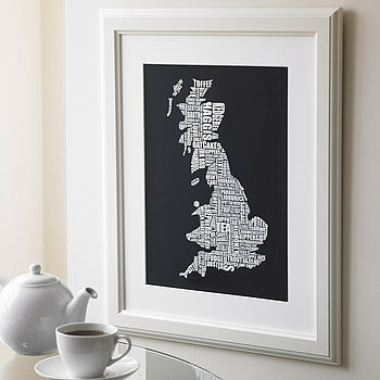 British Gastronomy map print in black