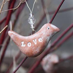 Terracotta Ceramic Bird Hanging Decoration