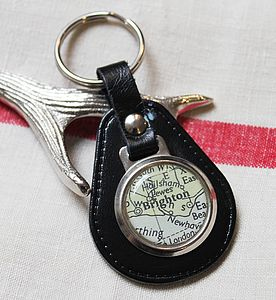 Vintage Leather Map Keyring