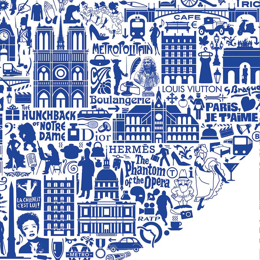 Typographic Paris Map Print By Nickprints