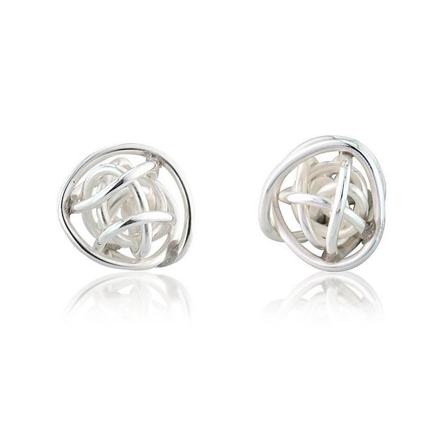 bound sphere silver stud earrings by reeves jewellery