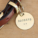 2.5cm (1in) brass dog ID tag with your dog's name