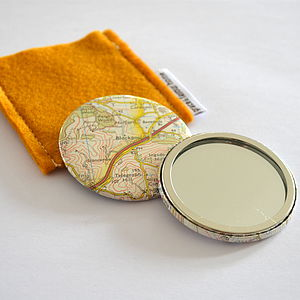 Vintage Map Mirror - wedding favours
