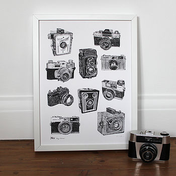 Say Cheese Vintage Camera Print