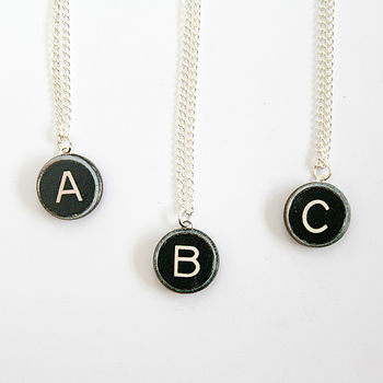 Initial Typewriter Key Wooden Necklace