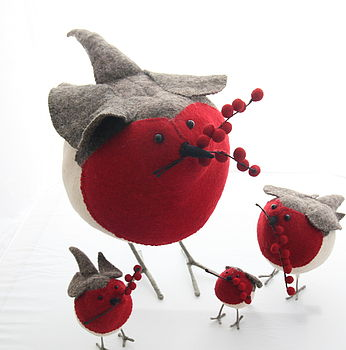 Giant Hand Crafted Felt Robin With Berries