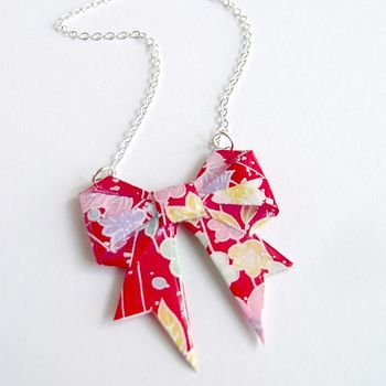 Summer Flowers Washi Bow Necklace