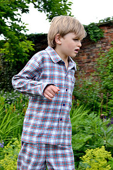 Boys Brushed Cotton Tartan Pyjamas
