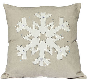 Snowflake Christmas Cushion - embroidered & beaded cushions