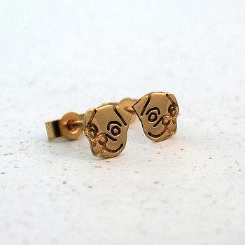 Gold Plated Happy Pug Earrings