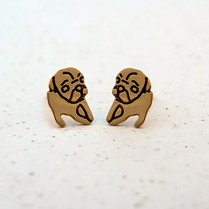 Gold Plated Thoughtful Pug Earrings - pet-lover