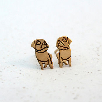 Gold Plated Gazing Pug Earrings