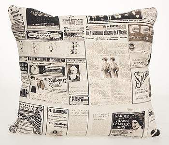 Vintage French Magazine Feather Print Cushion