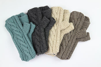 Hand Knit 'Cable' Hand Warmers