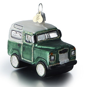 Lr Defender Glass Christmas Bauble - tree decorations
