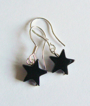 Larger Hematite Star Drop Earrings