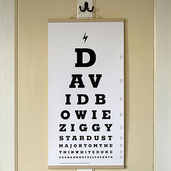 David Bowie Eye Test Chart Canvas Print