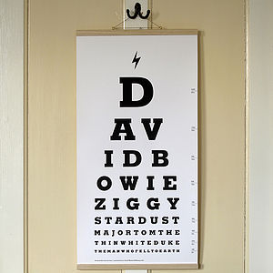 David Bowie Eye Test Chart Canvas Print - shop by price