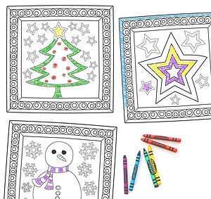Three Christmas Colouring In Wall Stickers