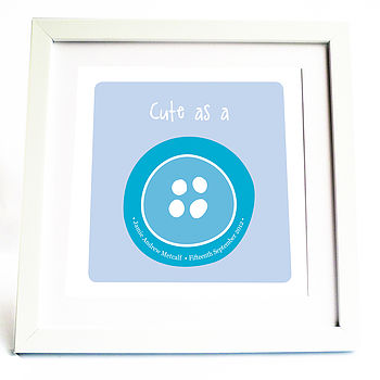 'Cute As A Button' Personalised Print