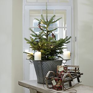 Zinc Planter With Candle Holders - tree decorations