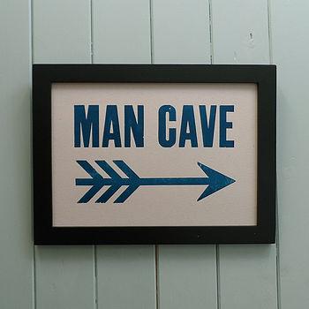 'Man Cave' Letterpress Print