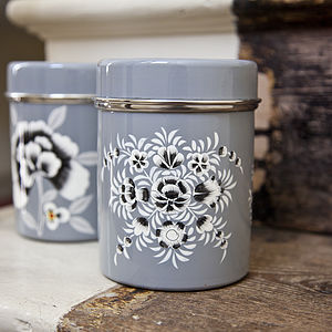 Enamel Hand Painted Tea Tin - storage & organising
