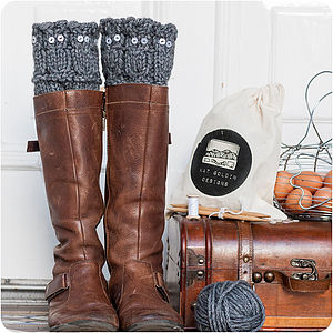 Owl Welly Leg Warmers Knitting Kit - knitting kits