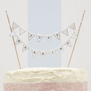 Just Married Wedding Cake Bunting - cake decoration