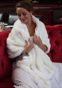 Vintage Inspired Faux Fur Wedding Wrap - pashminas & wraps