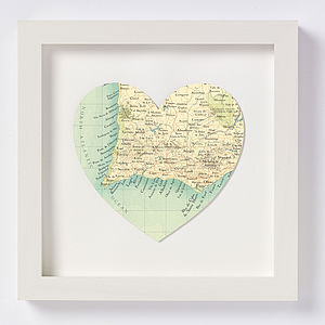 The Algarve Map Heart Print