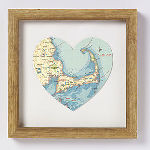 Cape Cod Map Heart Print