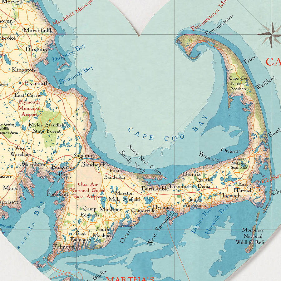 cape cod map heart print by bombus off the peg | notonthehighstreet.com
