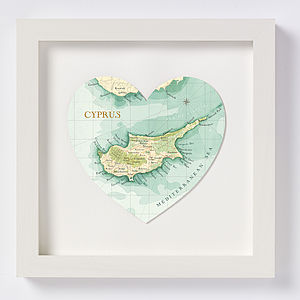 Cyprus Map Heart Print - home accessories