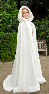Hooded Bridal Cape With Faux Fur Trim - pashminas & wraps