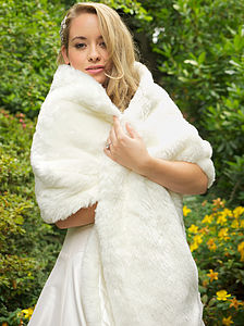 Faux Fur Wedding Wrap - pashminas & wraps