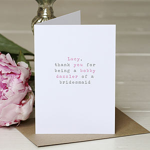 Personalised 'Bobby Dazzler' Greetings Card - wedding stationery