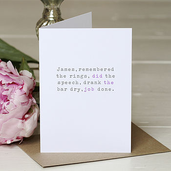 Personalised 'Remembered The Rings' Card
