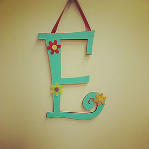 Personalised Curly Wooden Wall Letters - baby's room