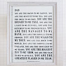Declaration Personalised Poster Print For Dad