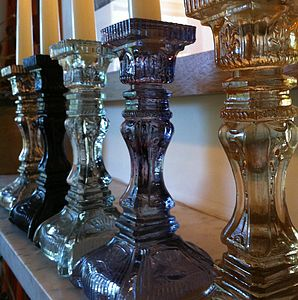 Pressed Glass Candlestick - candlesticks & tea light holders