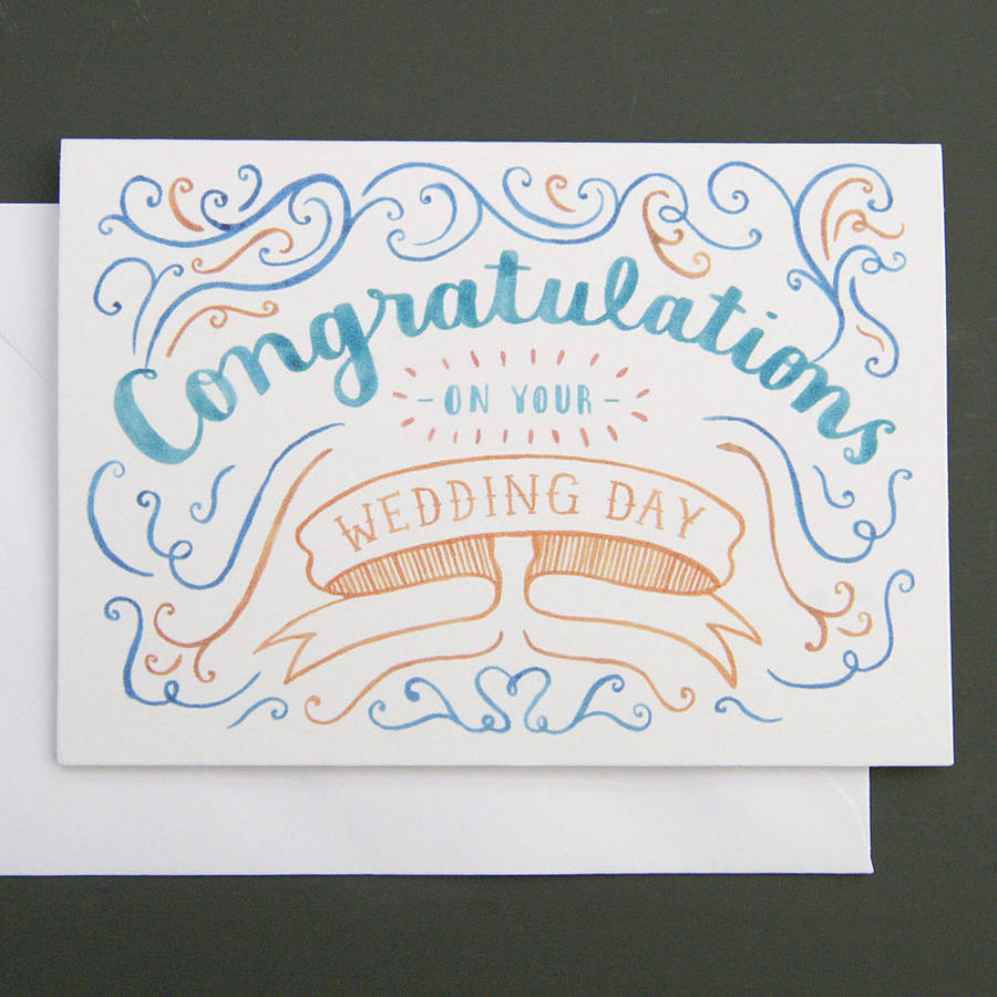 'congratulations' wedding card by nic farrell illustration ...